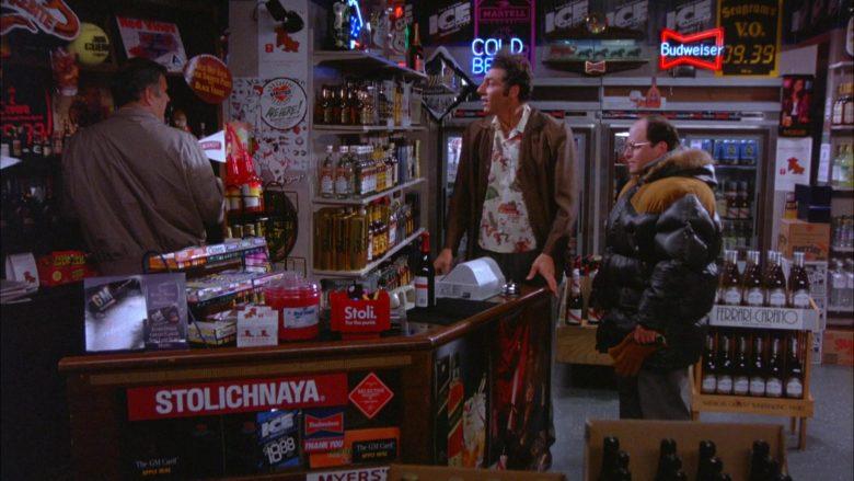 Stolichnaya Vodka and Budweiser Sign in Seinfeld Season 5 Episode 13