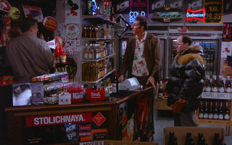 Stolichnaya Vodka and Budweiser Sign in Seinfeld Season 5 Episode 13