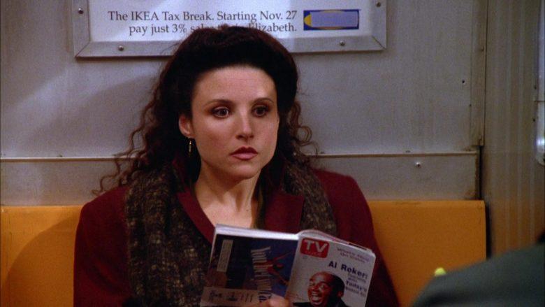 TV Guide Magazine Held by Julia Louis-Dreyfus as Elaine Benes in Seinfeld Season 5 Episode 10 (2)
