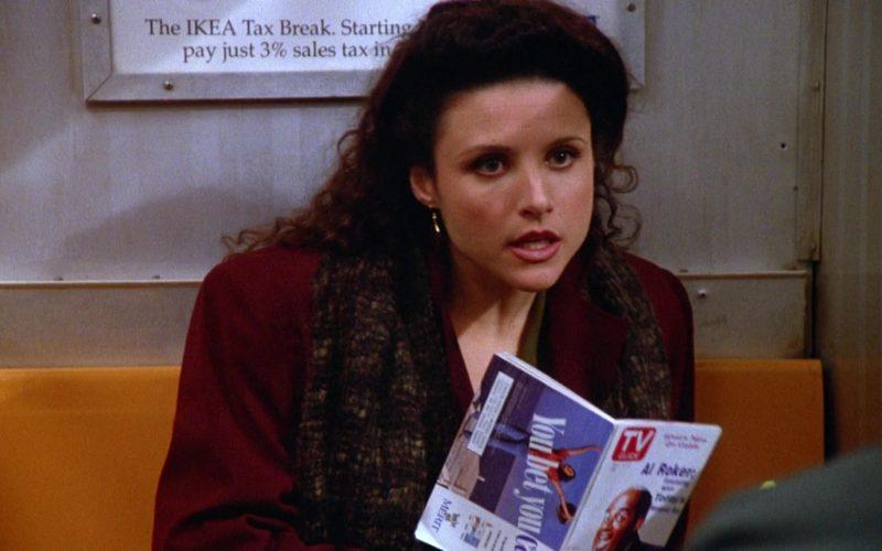 TV Guide Magazine Held by Julia Louis-Dreyfus as Elaine Benes in Seinfeld Season 5 Episode 10 (3)