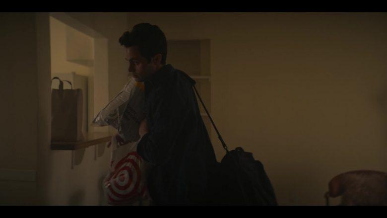 Target Store Plastic Bag Held by Penn Badgley as Joe Goldberg in YOU Season 2 Episode 1 A Fresh Start