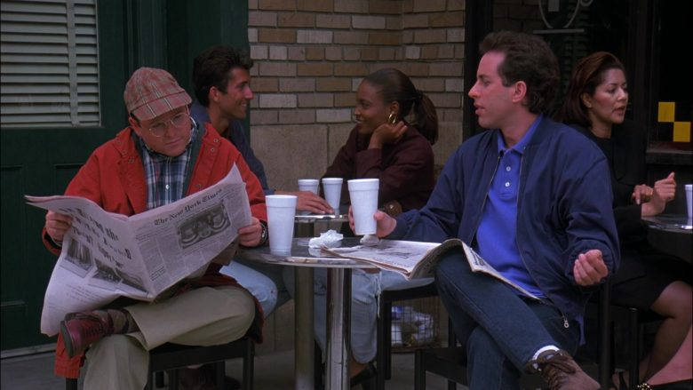 The New York Times Newspaper Held by Jason Alexander as George Costanza in Seinfeld Season 8 Episode 3 The Bizarro Jerry