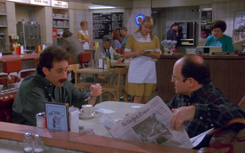 The New York Times Newspaper Held by Jason Alexander as George Costanza in Seinfeld Season 9 Episode 1 The Butter Shave