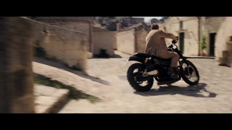 Triumph Bonneville Scrambler 1200 Motorcycle Used by Daniel Craig as James Bond in No Time to Die (2020) - Movie Product Placement
