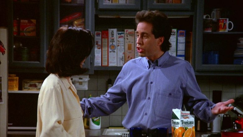 "Tropicana Orange Juice Enjoyed by Jerry Seinfeld & Courteney Cox in Seinfeld Season 5 Episode 17 ""The Wife"" (1994) - TV Show Product Placement"
