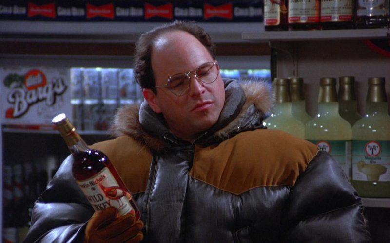 Wild Turkey Bourbon Bottle Held by Jason Alexander as George Costanza in Seinfeld Season 5 Episode 13 (1)
