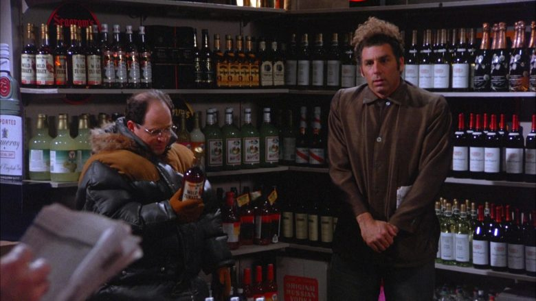 Wild Turkey Bourbon Bottle Held by Jason Alexander as George Costanza in Seinfeld Season 5 Episode 13 (3)