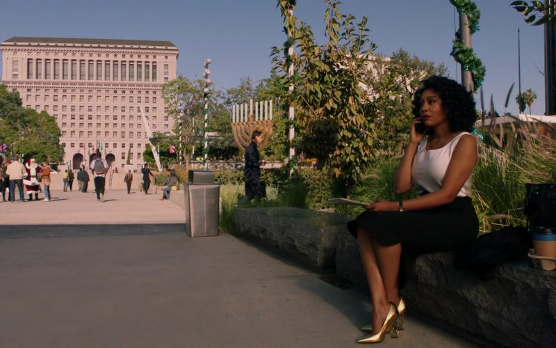 YSL Gold High Heel Pump Shoes Worn by Simone Missick as Judge Lola Carmichael in All Rise Season 1 Episode 11