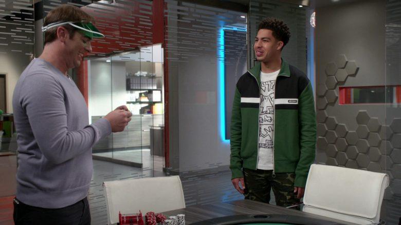 AMI Paris Jacket in Green-Black Worn by Marcus Scribner as Junior in Black-ish Season 6 Episode 14 (1)