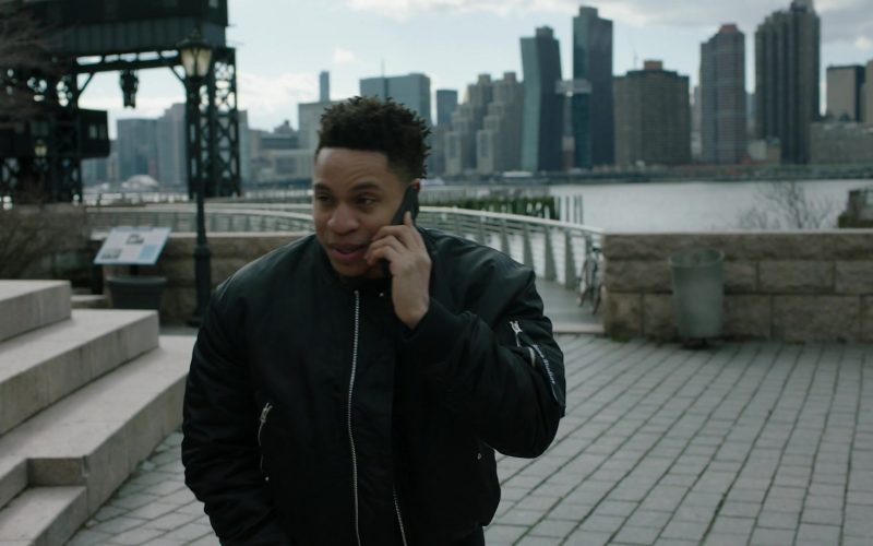 Acne Studios Bomber Jacket Worn by Rotimi Akinosho as Andre 'Dre' Coleman in Power Season 6 Episode 11 Still Dre (4)