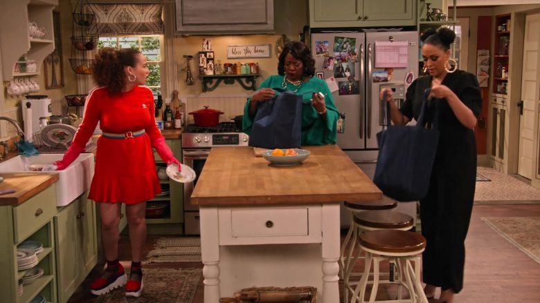 Adidas Dress in Red Worn by Talia Jackson as Jade McKellan in Family Reunion Season 1 Episode 18 (1)