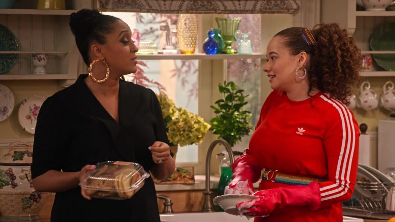 Adidas Dress in Red Worn by Talia Jackson as Jade McKellan in Family Reunion Season 1 Episode 18 (3)