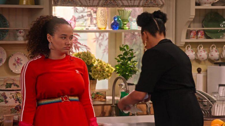 Adidas Dress in Red Worn by Talia Jackson as Jade McKellan in Family Reunion Season 1 Episode 18 (4)