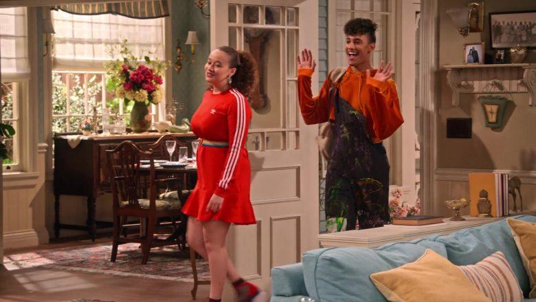 Adidas Dress in Red Worn by Talia Jackson as Jade McKellan in Family Reunion Season 1 Episode 18 (5)