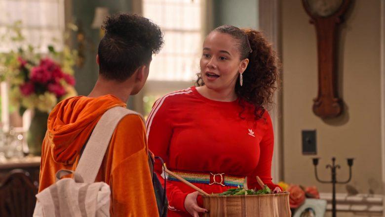 Adidas Dress in Red Worn by Talia Jackson as Jade McKellan in Family Reunion Season 1 Episode 18 (6)
