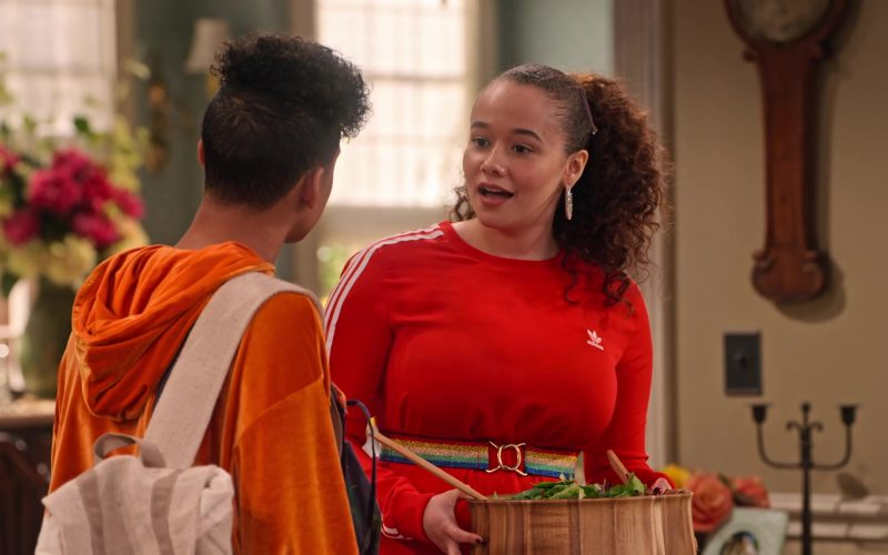 Adidas Dress in Red Worn by Talia Jackson as Jade McKellan in Family Reunion Season 1 Episode 18 (6)