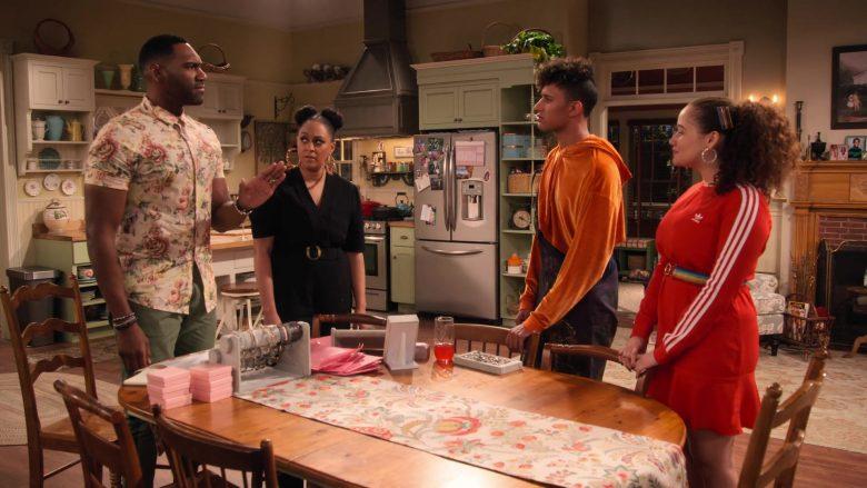 Adidas Dress in Red Worn by Talia Jackson as Jade McKellan in Family Reunion Season 1 Episode 18 (8)