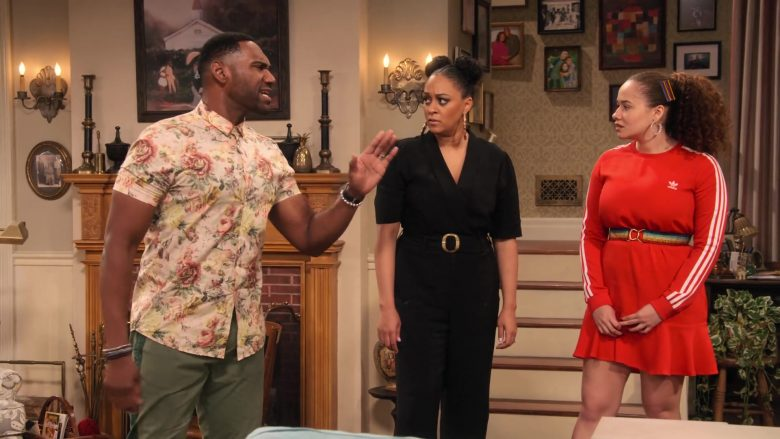 Adidas Dress in Red Worn by Talia Jackson as Jade McKellan in Family Reunion Season 1 Episode 18 (9)