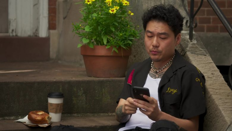 """Apple iPhone Mobile Phone Used by Jonathan Park as Doug in Awkwafina Is Nora from Queens Season 1 Episode 2 """"Atlantic City"""" (2020) TV Show"""