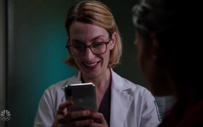 Apple iPhone Smartphone Used by Molly Bernard as Elsa Curry in Chicago Med Season 5 Episode 10 Guess It Doesn't Matter Anymore