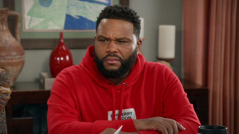 Burberry London England Hoodie in Red Worn by Anthony Anderson as Dre in Black-ish Season 6 Episode 14 (2)