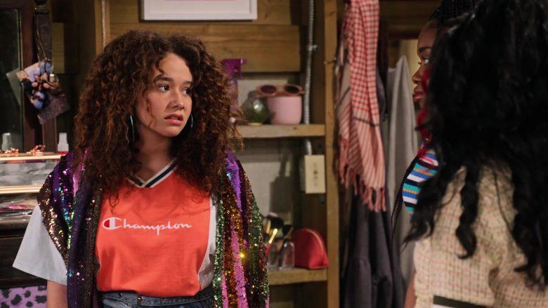 Champion Tee Worn by Talia Jackson as Jade McKellan in Family Reunion Season 1 Episode 20 (5)