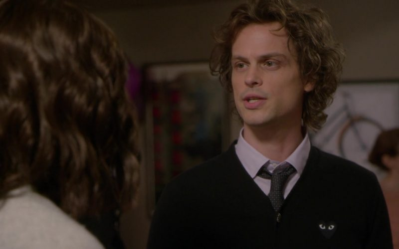 Comme des Garçons Black Cardigan Worn by Matthew Gray Gubler as Spencer Reid in Criminal Minds Season 15 Episode 1 (5)