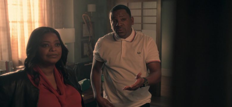 Fred Perry White Shirt Worn by Mekhi Phifer as Markus Knox in Truth Be Told Season 1 Episode 8 (1)