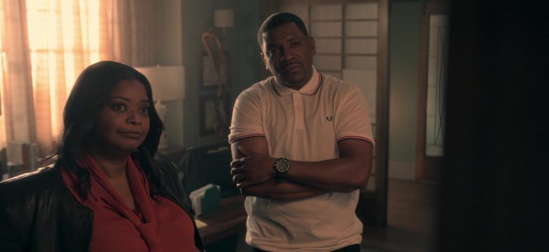 Fred Perry White Shirt Worn by Mekhi Phifer as Markus Knox in Truth Be Told Season 1 Episode 8 (2)