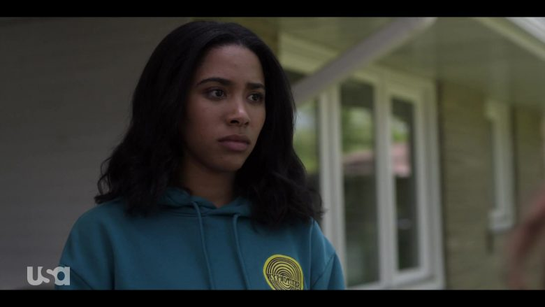 H&M Hoodie in Dark Turquoise with Hypnotizer Patch Worn by Herizen Guardiola as Addy Hanlon in Dare Me Episode 5 (3)