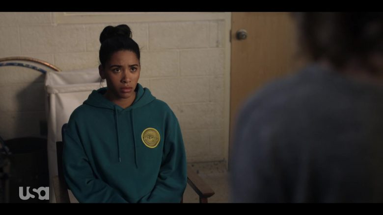 H&M Hoodie in Dark Turquoise with Hypnotizer Patch Worn by Herizen Guardiola as Addy Hanlon in Dare Me Episode 5 (4)