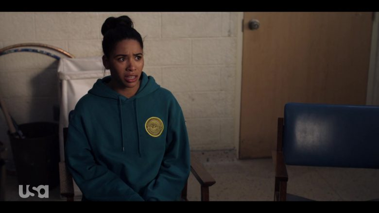 H&M Hoodie in Dark Turquoise with Hypnotizer Patch Worn by Herizen Guardiola as Addy Hanlon in Dare Me Episode 5 (5)