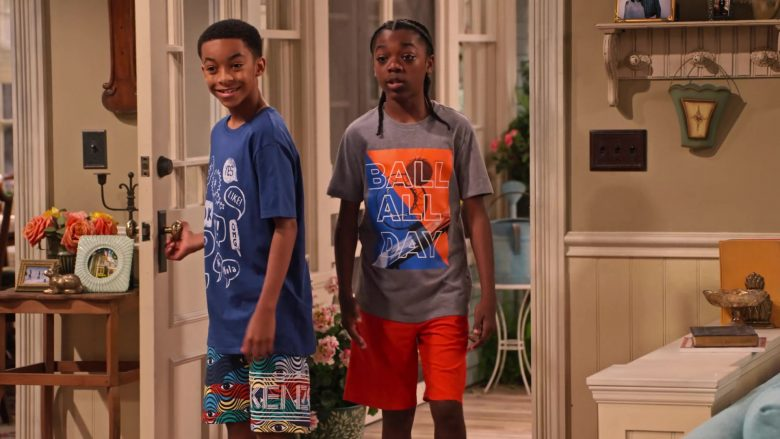 """Kenzo Shorts Worn by Isaiah Russell-Bailey as Shaka McKellan in Family Reunion Season 1 Episode 20 """"Remember When the Party Was Over?"""" (2020) - TV Show Product Placement"""
