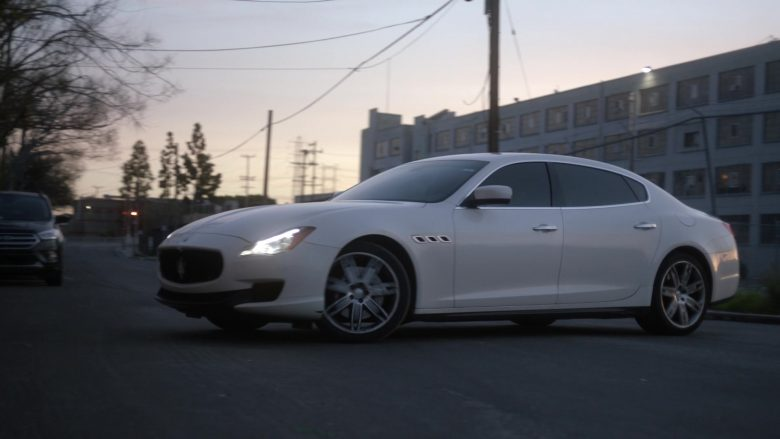 Maserati Quattroporte White Car Driven by Natalia Guslistaya in Acceleration (2019) - Movie Product Placement