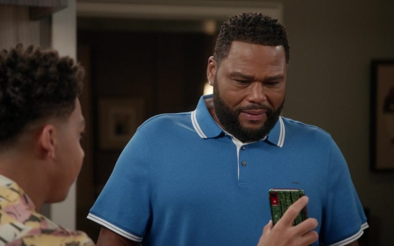 Michael Kors Blue Polo Shirt Worn by Anthony Anderson as Dre in Black-ish Season 6 Episode 11 Hair Day (2)