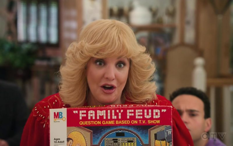 Milton Bradley Family Feud Board Game Held by Wendi McLendon-Covey as Beverly in The Goldbergs Season 7 Episode 12 Game Nigh