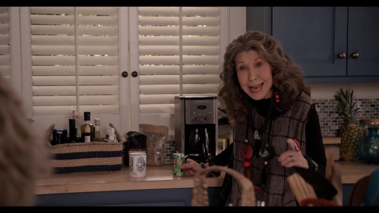 """Mountain Dew Soda Enjoyed by Lily Tomlin and Cuisinart Coffee Maker in Grace and Frankie Season 6 Episode 7 """"The Surprises"""" (2020) TV Show"""