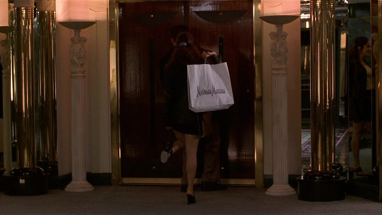 Neiman Marcus Store Paper Bags Held by Salma Hayek as Isabel Fuentes-Whitman in Fools Rush In (1997) - Movie Product Placement