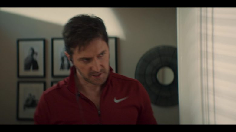 Nike Jacket in Red Worn by Richard Armitage as Adam Price in The Stranger Episode 1 (1)