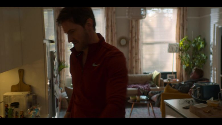 Nike Jacket in Red Worn by Richard Armitage as Adam Price in The Stranger Episode 1 (2)