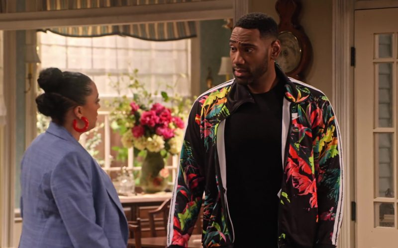 Nike NSW Floral Track Jacket Worn by Anthony Alabi as Moz McKellan in Family Reunion Season 1 Episode 19 (4)