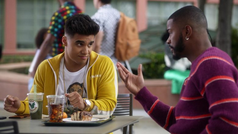 "Palm Angels Yellow Jacket Worn by Jordan Buhat as Vivek Shah in Grown-ish Season 3 Episode 2 ""Damn"" (2020) - TV Show Product Placement"
