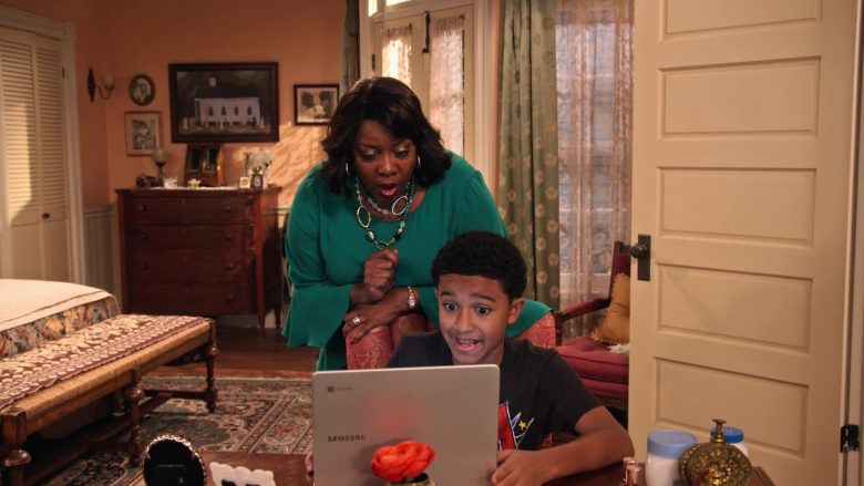 """Samsung Chromebook Laptop Computer Used by Cameron J. Wright as Mazzi McKellan in Family Reunion Season 1 Episode 18 """"Remember Cousin Kenya?"""" (2020) TV Show"""