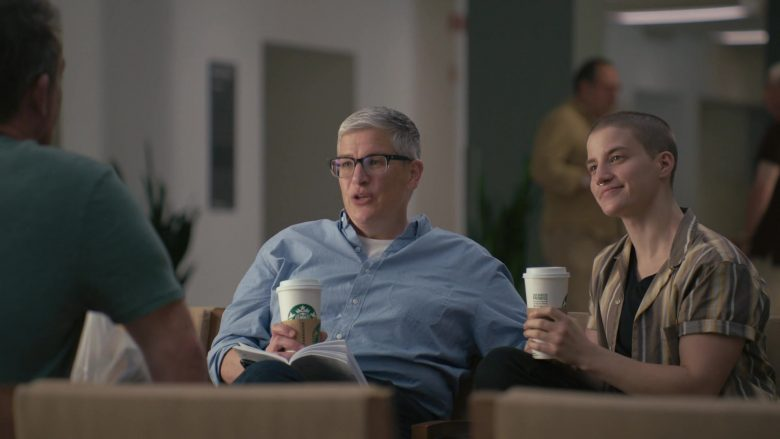 "Starbucks Coffee Enjoyed by Abby McEnany & Theo Germaine in Work in Progress Season 1 Episode 5 ""66, 65, 64, 62"" (2020) TV Show"