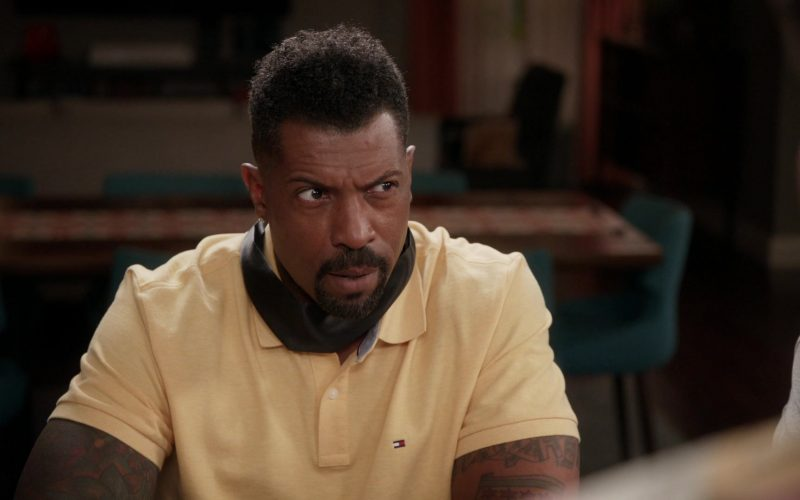 Tommy Hilfiger Yellow Polo Shirt Worn by Deon Cole as Charlie Telphy in Black-ish Season 6 Episode 11 Hair Day (4)