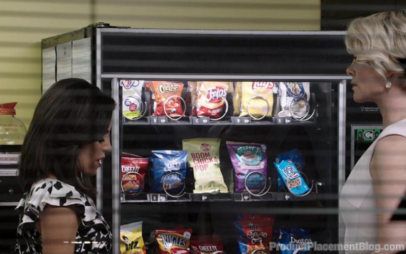 Cheetos, Fritos, Lays, Cheez-It, Dirty Potato Chips, Angie's Boomchickapop, UTZ, Doritos in Bombshell (2019)