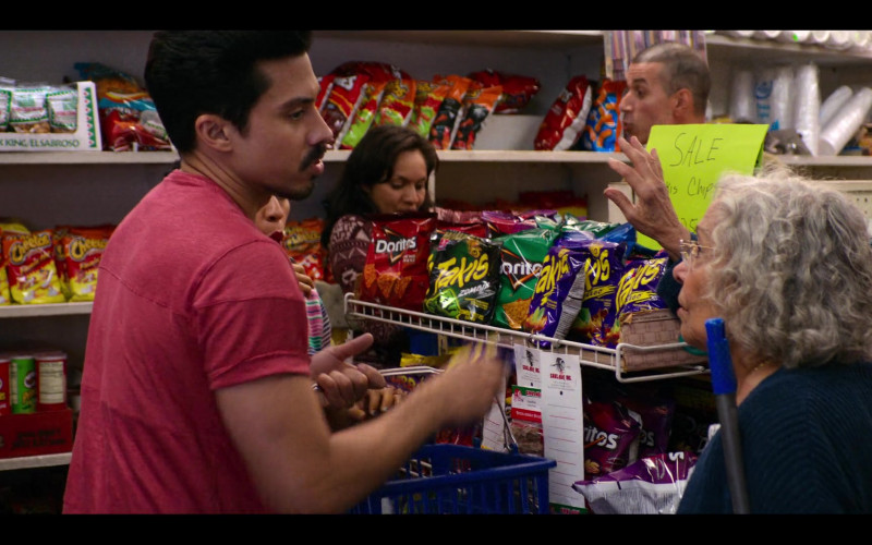 Cheetos, Pringles, Doritos, Takis, Snak King El Sabroso in Gentefied S01E05
