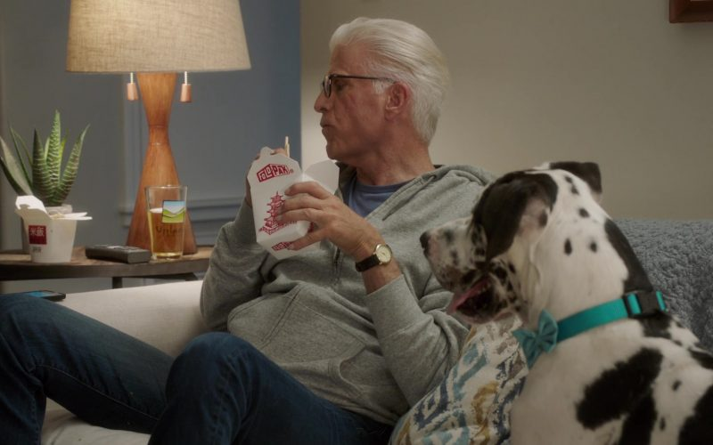 Fold-Pak Take-Out Food Container Held by Ted Danson as Michael in The Good Place Season 4 Episode 13 Whenever You're Ready (2)