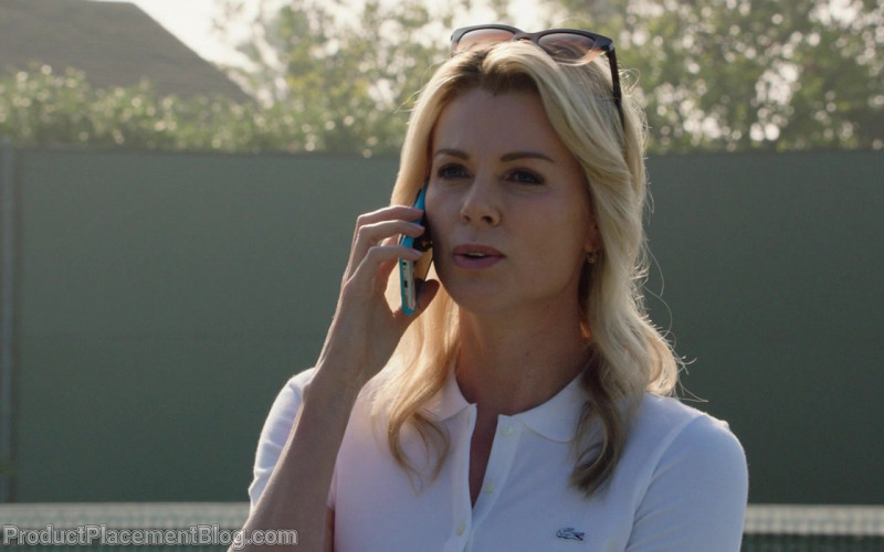 Lacoste White Polo Shirt Worn by Charlize Theron in Bombshell (1)