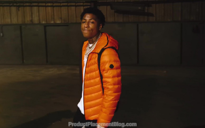Moncler Orange Down Jacket Worn by YoungBoy NBA in Lil Top (11)